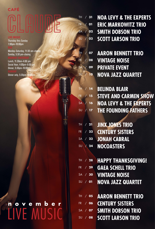 Jazz calendar November 2019